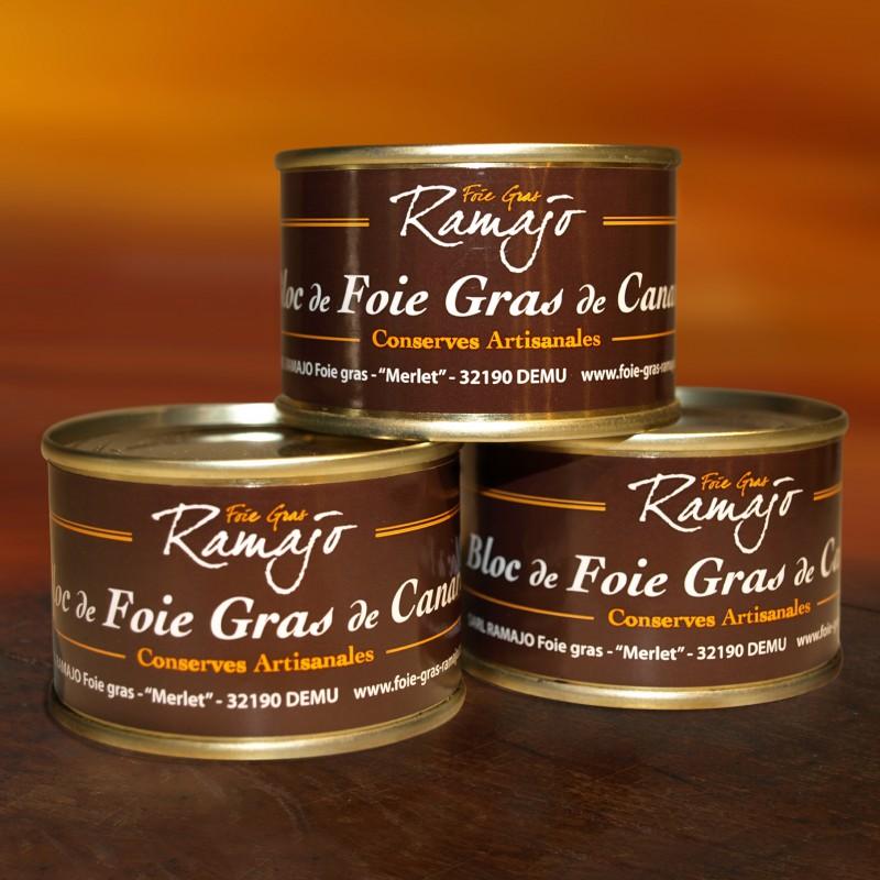 Bloc de foie gras de canard du Gers : Lot 3 boites 70 g