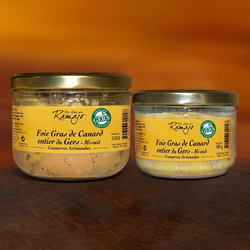 Foie gras de canard entier du Gers mi-cuit : lot 180g + 350g