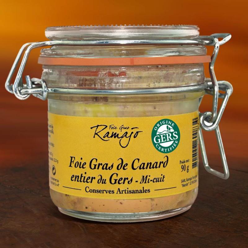 Foie gras de canard entier du gers  mi-cuit 90 g