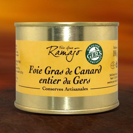 Foie gras de canard entier du Gers 180 g (Boite fer)