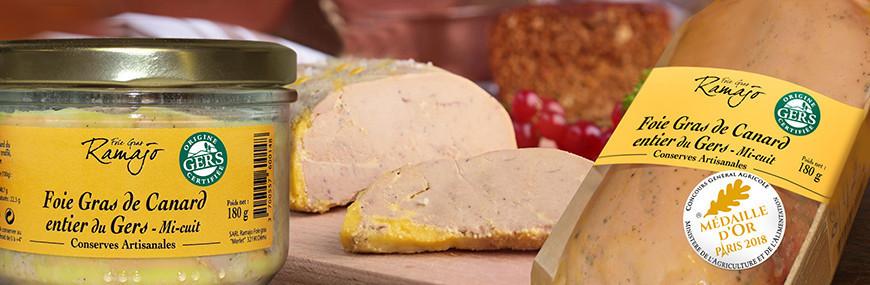 Foie Gras de Canard entier, Bloc de foies de canard mi cuits